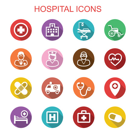 patient in hospital: hospital long shadow icons, flat vector symbols