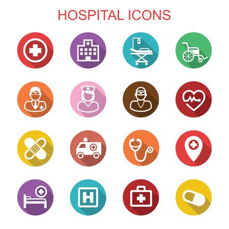 logo medicina: hospitales larga sombra iconos, símbolos vectoriales planas Vectores