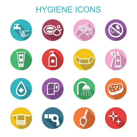 personal care: hygiene long shadow icons, flat vector symbols