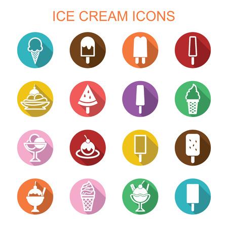 sorbet: ice cream long shadow icons, flat vector symbols Illustration