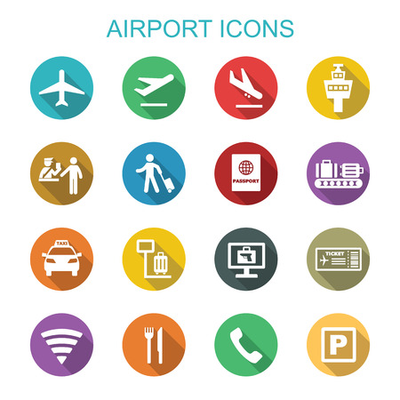 airport long shadow icons, flat vector symbols