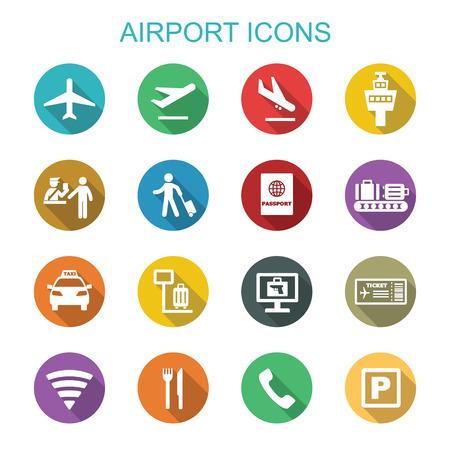 aeroporto icone lunga ombra, simboli vettoriali piatte
