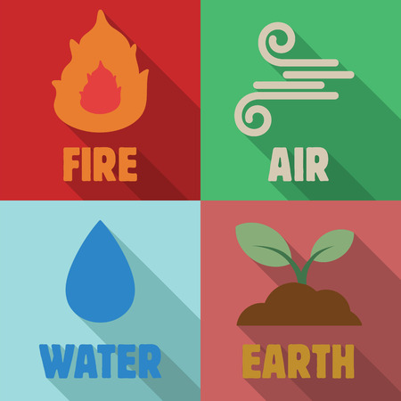 cuatro elementos: cuatro elementos de largas sombras planas, símbolos vectoriales Vectores