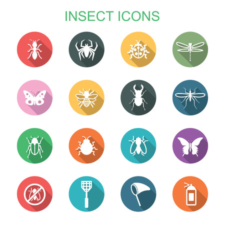insect long shadow icons, flat vector symbols