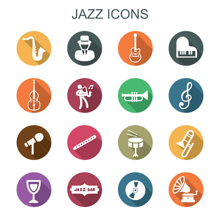 jazz drums: jazz long shadow icons, flat vector symbols