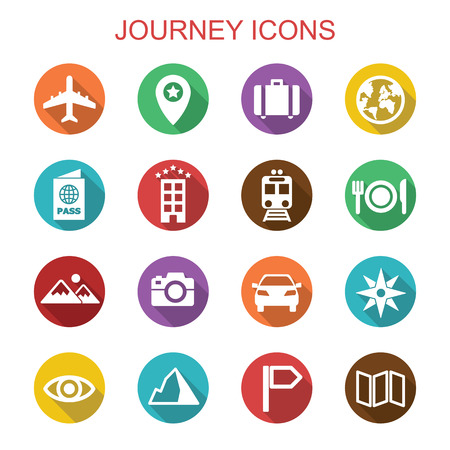 journey long shadow icons, flat vector symbols