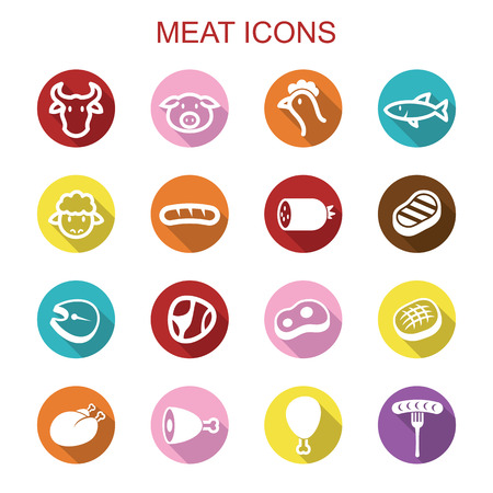 meat long shadow icons, flat vector symbols