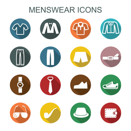 menswear: menswear long shadow icons, flat vector symbols