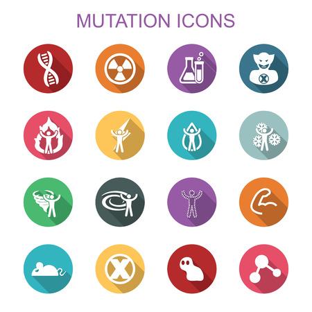 mutation: mutation long shadow icons, flat vector symbols