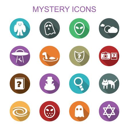 mystery long shadow icons, flat vector symbols Vettoriali
