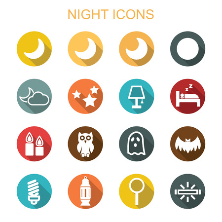 long night: night long shadow icons, flat vector symbols