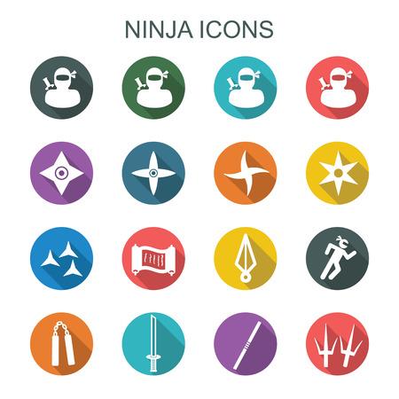 ninja weapons: ninja long shadow icons, flat vector symbols Illustration