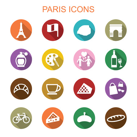 paris long shadow icons, flat vector symbols Vector