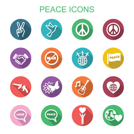 hold hands: peace long shadow icons, flat vector symbols