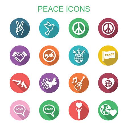 world war two: peace long shadow icons, flat vector symbols