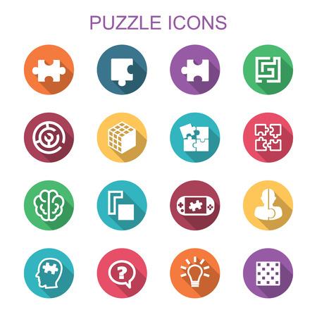 puzzel lange schaduw iconen, platte vectorsymbolen