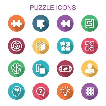 puzzle long shadow icons, flat vector symbols