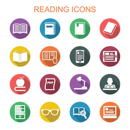 read magazine: reading long shadow icons, flat vector symbols Illustration