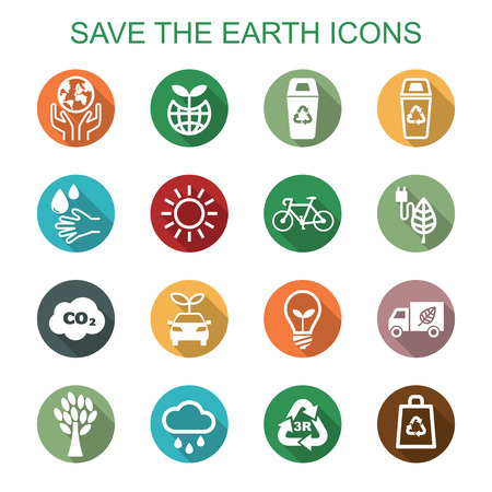 save the earth long shadow icons, flat vector symbols Ilustração