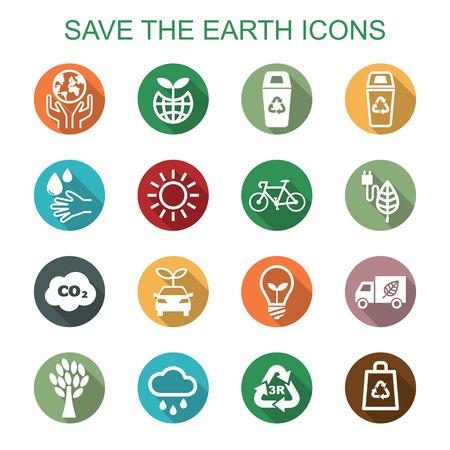 save the earth long shadow icons, flat vector symbols Illustration
