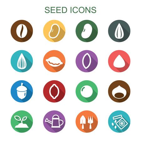 planta de frijol: los iconos de sombra de semillas largo, símbolos vectoriales planas