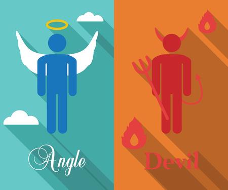 teufel engel: Schulter Engel und Teufel langen Schatten flach, Vektor-Symbole Illustration