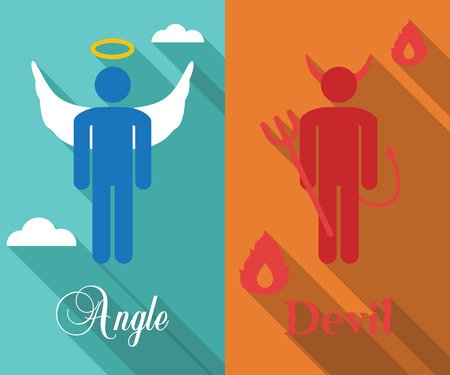 angel and devil: shoulder angel and devil long shadow flat, vector symbols