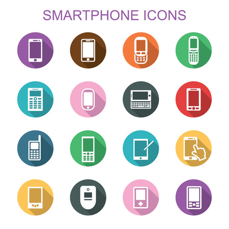 camera phone: smartphone long shadow icons, flat vector symbols