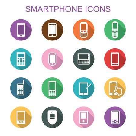 phone symbol: smartphone long shadow icons, flat vector symbols