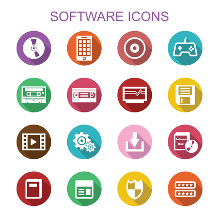 video cassette tape: software long shadow icons, flat vector symbols