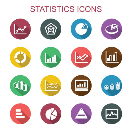 statistics long shadow icons, flat vector symbols