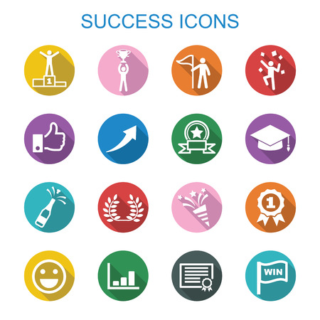 rewards: success long shadow icons, flat vector symbols