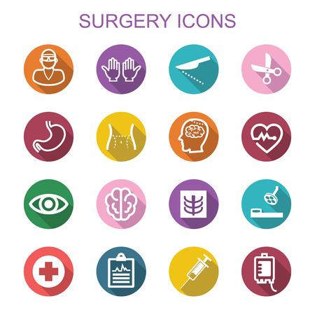 chirurgo: chirurgia lunga ombra icone, simboli vettoriali piatte