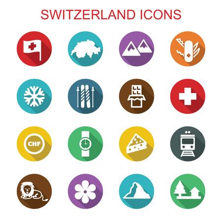 alpes suizos: suiza iconos larga sombra, s�mbolos vectoriales planas Vectores