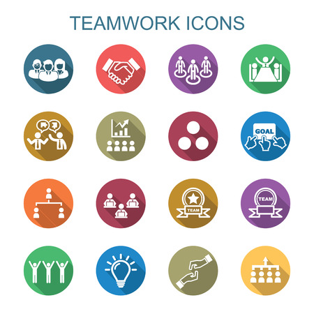 teamwork long shadow icons, flat vector symbols Vettoriali