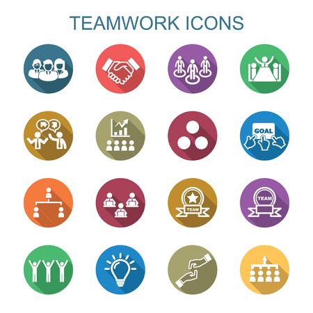 teamwork lange schaduw iconen, platte vectorsymbolen