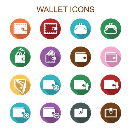 credit: wallet long shadow icons, flat vector symbols