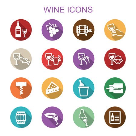 opener: wine long shadow icons, flat vector symbols Illustration