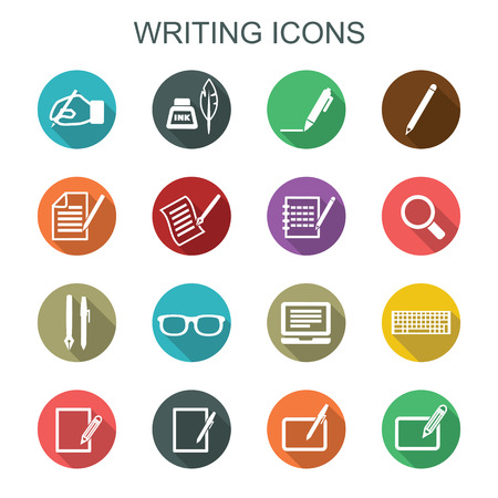 pen and paper: writing long shadow icons, flat vector symbols