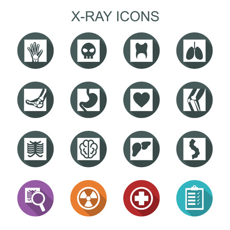 x-ray long shadow icons, flat vector symbols