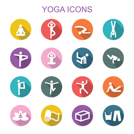 yoga class: yoga long shadow icons, flat vector symbols