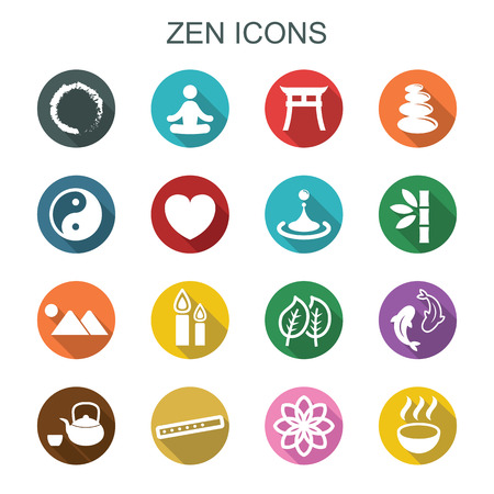 relaxar: ícones longa sombra zen, símbolos planas