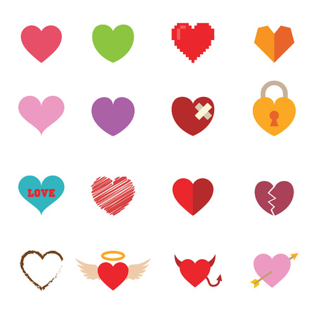 colorful valentine heart icons symbols Vector