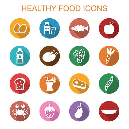 Gezonde voedsel lange schaduw iconen, platte symbolen