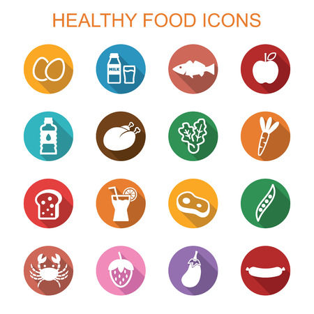 healthy food long shadow icons, flat symbols Иллюстрация