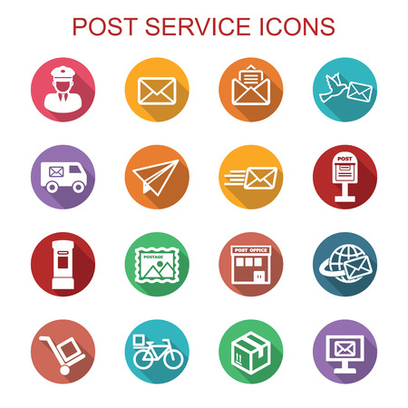 news van: post service long shadow icons, flat symbols