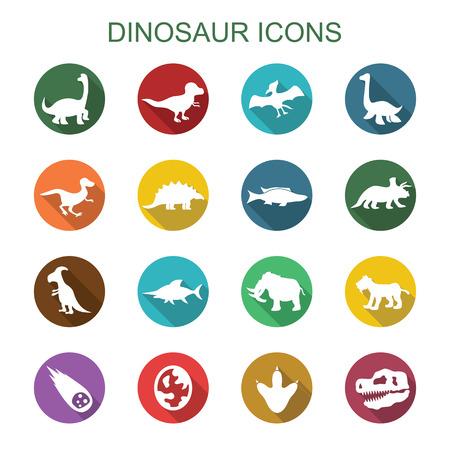 dinosaurio: dinosaurio iconos larga sombra Vectores