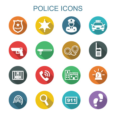 patrol officer: police long shadow icons Illustration