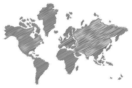 map pencil: sketch world map, pencil art