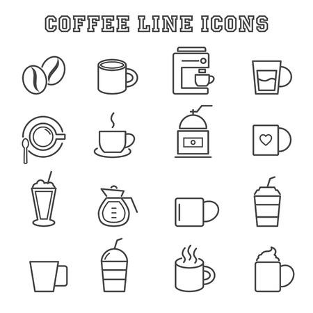 coffee line icons Vector